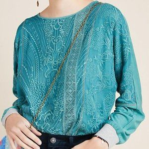 anthropologie TINY kate lace embroidered teal top